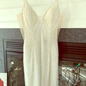 Jovani Size 4 white beaded dress